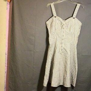 DKNY women's summer mini dress sz L brown & white